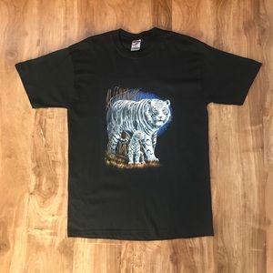 Vintage White Tiger Animal T-Shirt Tee